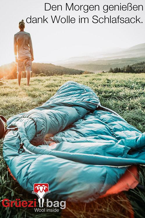 Den Morgen genießen dank Wolle im Schlafsack.