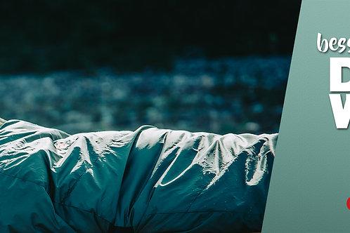 1831 - Banner besserer Schlaf DANK WOLLE im Schlafsack
