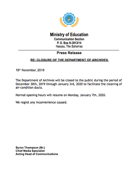 Press release_CLOSURE OF THE DEPARTMENT