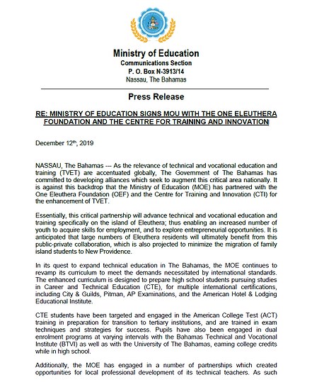 MINISTRY OF EDUCATION SIGNS MOU WITH THE