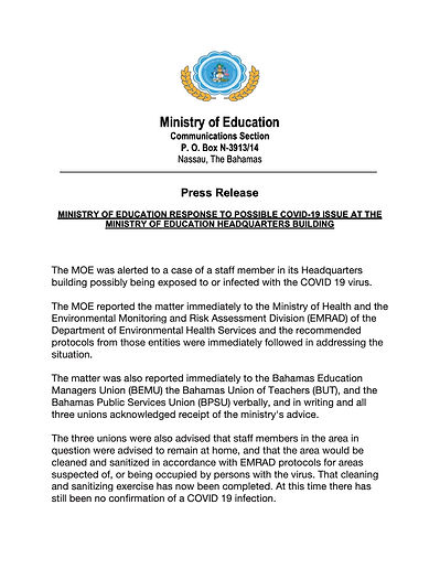 MOE Press Release - POSSIBLE COVID-19  I