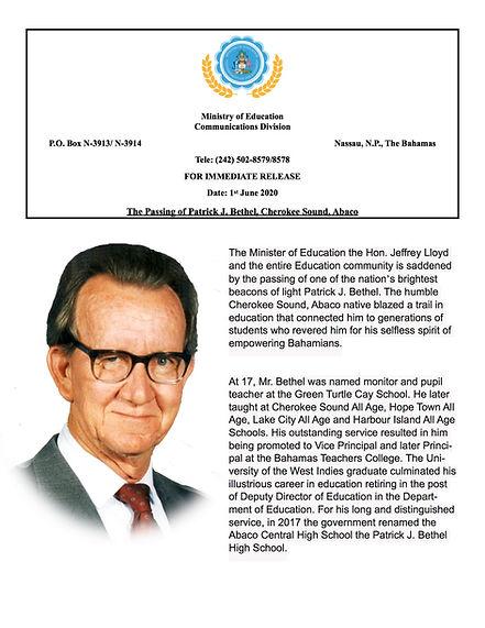 Press Release_Patrick Bethel June 2020_p