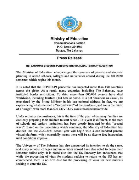 MOE Press Release - Bahamian Students St