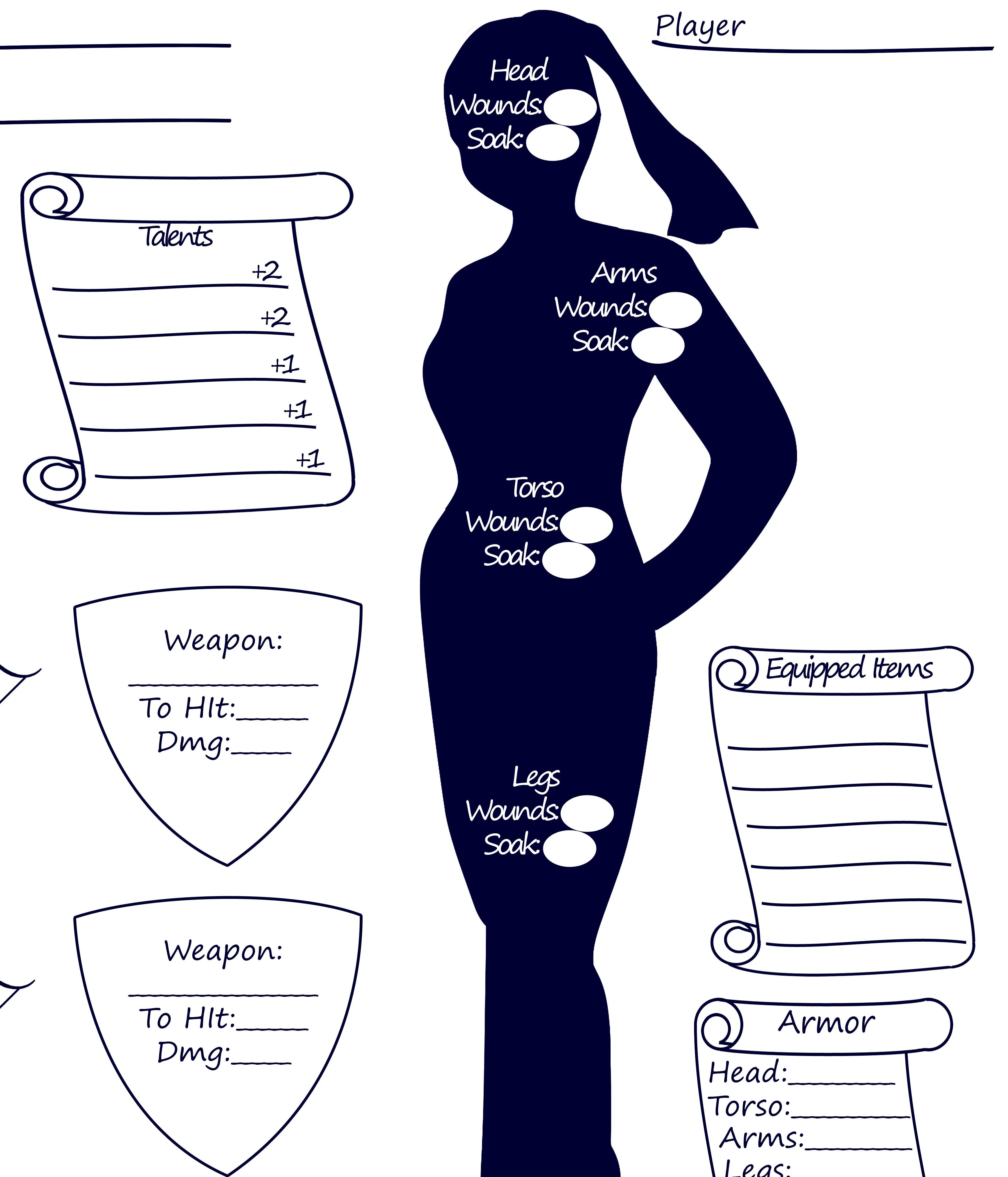 Character sheet highlight