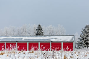 Multiple storage units with red doors next to woods in the winter.jpg