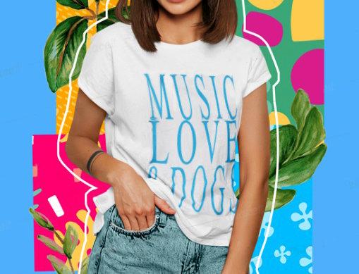 Camiseta Music Love & Dogs branca