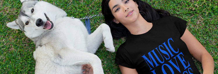 Camiseta Music Love & Dogs