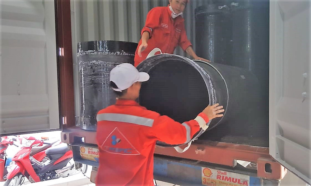 Our first shipment of goods (carbon fibre ventilation tubes and associated pieces) from Triac Composites' factory in HCMC.