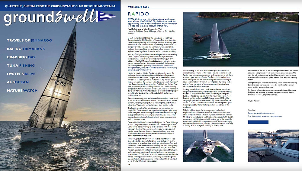 Haydon has written about his visit in the June 2019 issue of the Cruising Yacht Club of South Australia's Groundswell magazine.