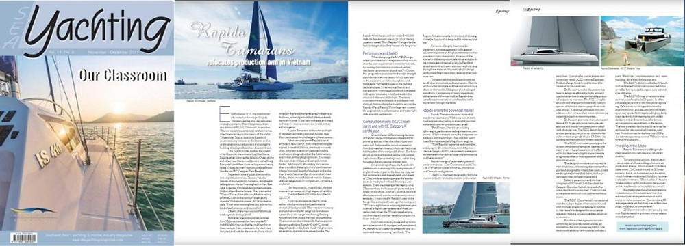 SEA Yachting magazine publishes an article about Rapido Catamarans in its November / December 2019 issue.