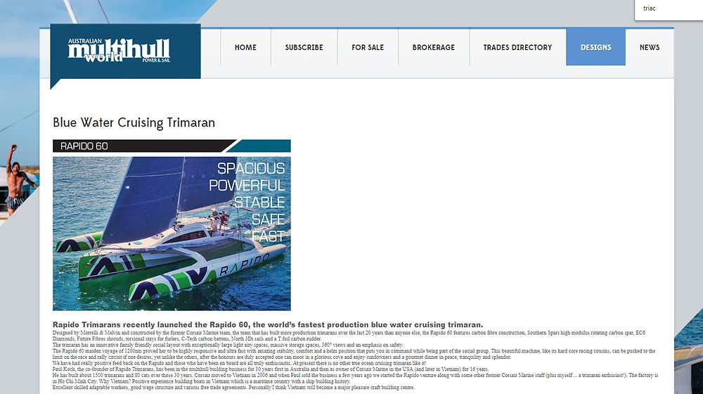 Australian Multihull World magazine mentions Triac Composites.