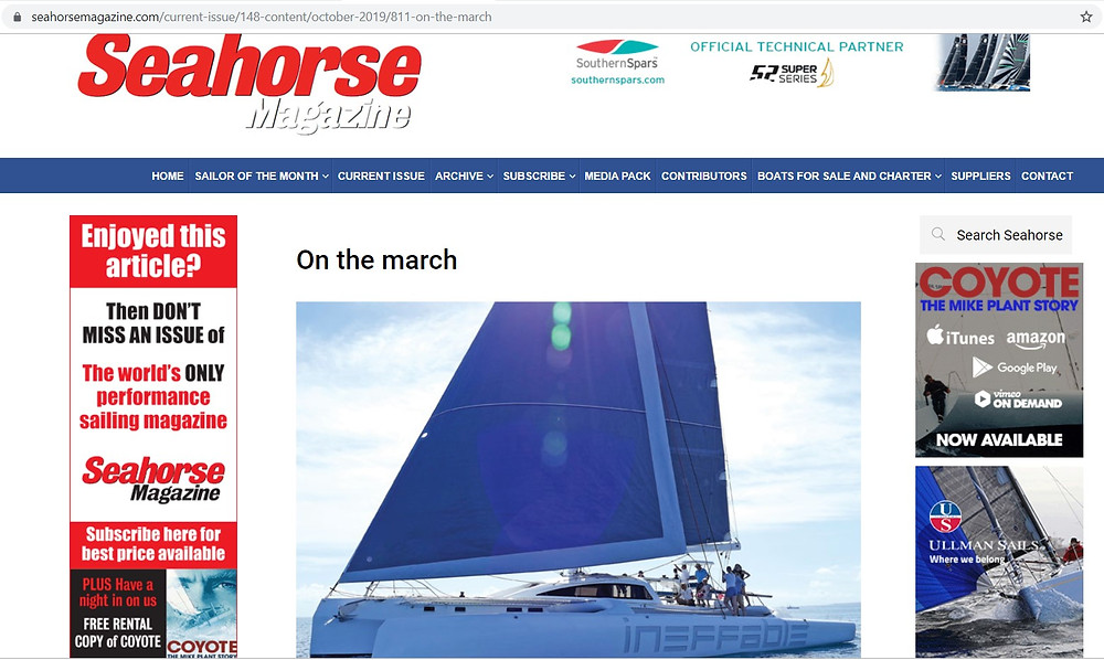 Seahorse magazine, October 2019 issue, features Rapido Trimarans which are built by Triac Composites.