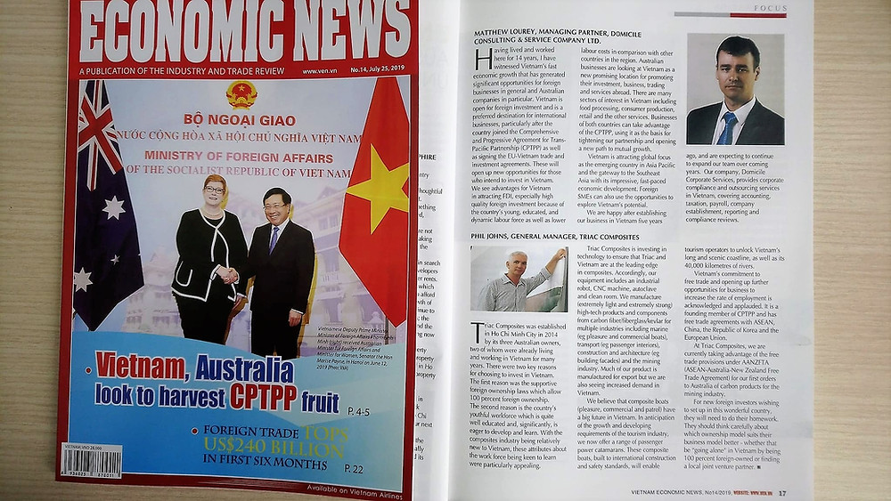 Vietnam Economic News interviewed Triac Composites' General Manager, Phil Johns in its July 2019 issue.