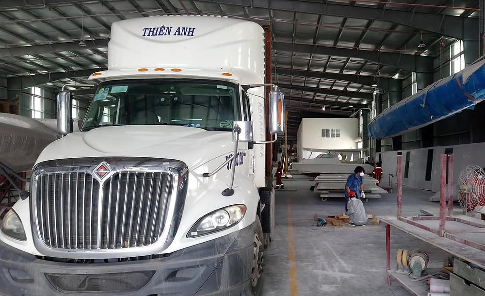 Shipping foam panels to Scandinavian customer at Triac Composites' factory in HCMC, Vietnam.