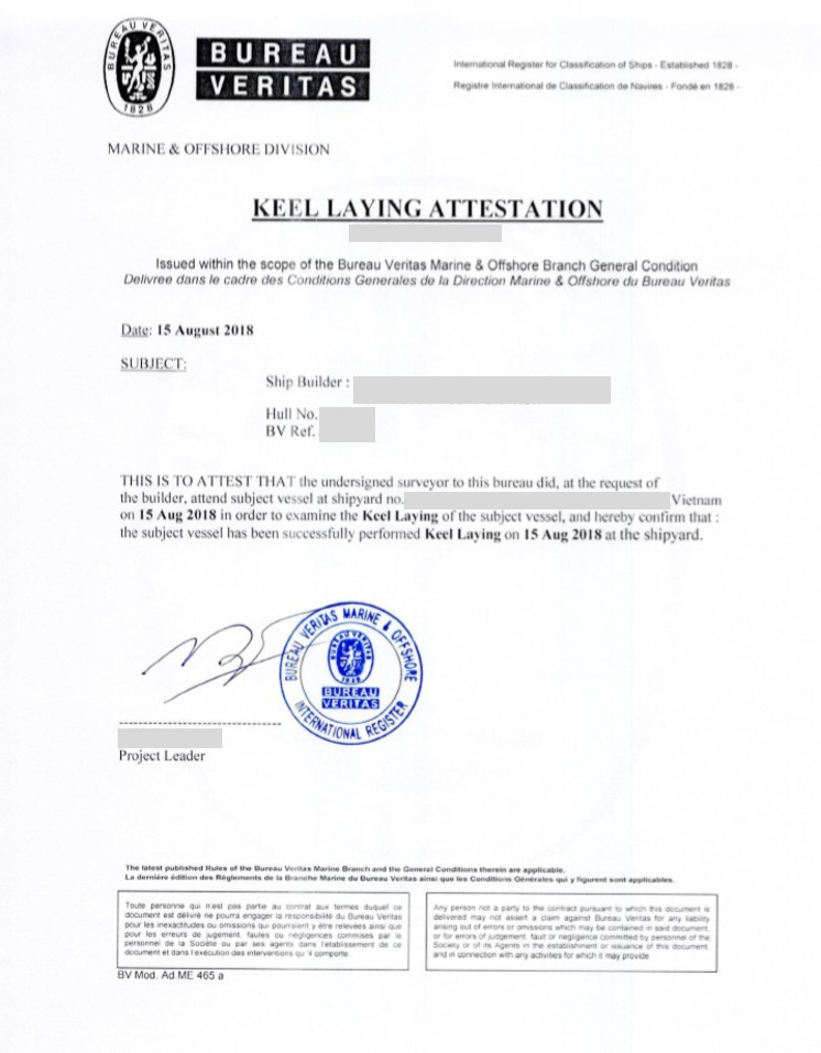 The Bureau Veritas attestation dated 15 August 2018 for the keel laying of the two steel fishing vessels.