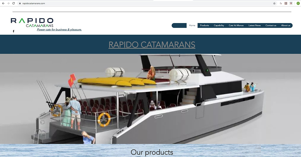 The homepage of Rapido Catamarans' new website at www.rapidocatamarans.com