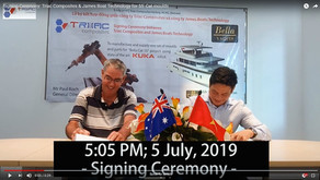 Video: Signing Ceremony - Triac Composites & James Boat Technology for 55' Cat moulds