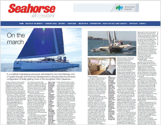Seahorse magazine's October 2019 issue features Triac Composites and the Rapido range of trimarans.