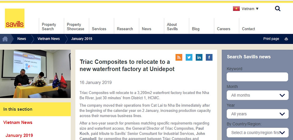 The Savills' article about Trriac Composites' move to Unidepot's facility in Nha Be District, HCMC.