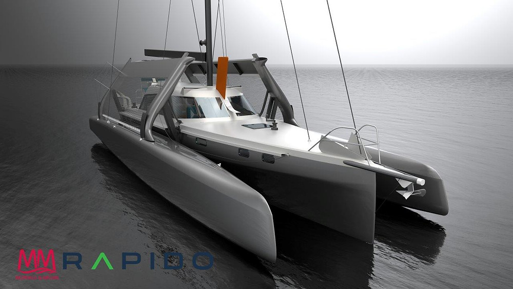 The Rapido 40 will have folding floats (and the floats will remain upright in the folded position).