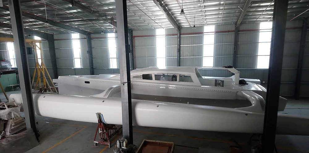 A Rapido 60 Racer / Charter in the factory.