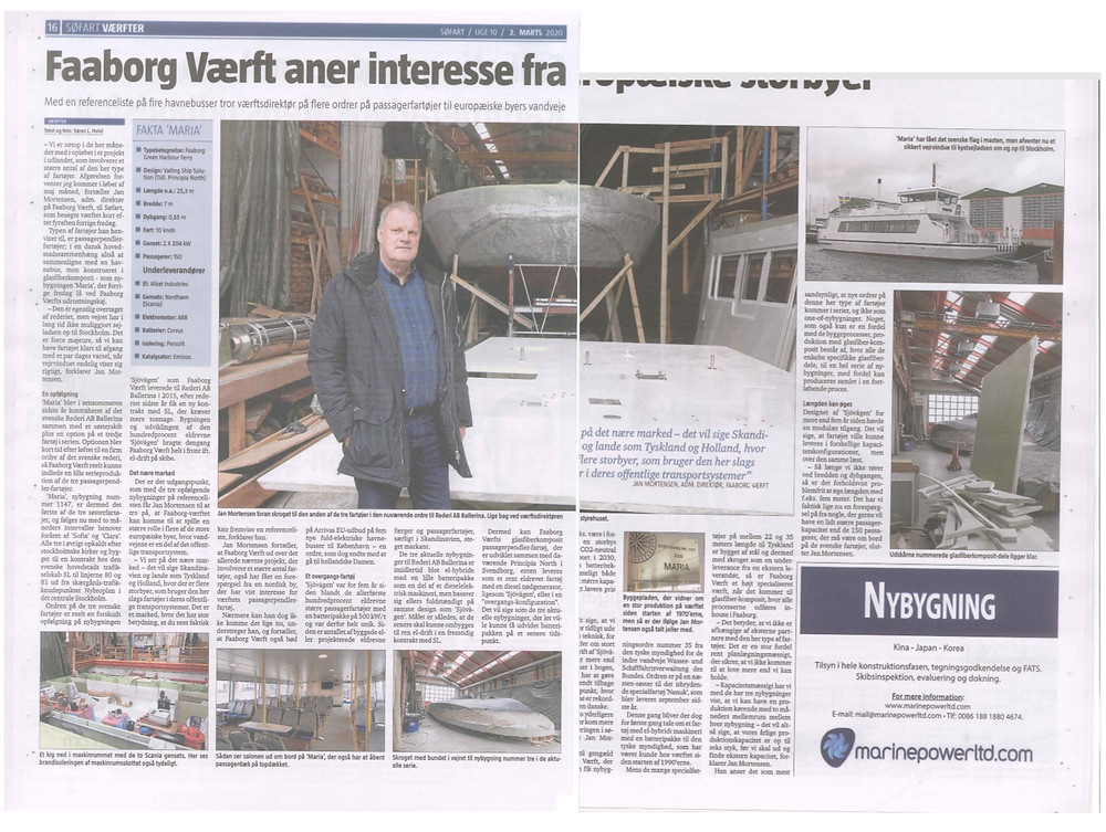The article that was published in  Sofart Daerfter regarding the composite panels built by Triac Composites.