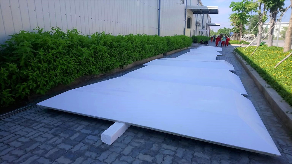 Composite roof for wheelhouses on  three ferries, built by Triac Composites for Scandinavian customer.