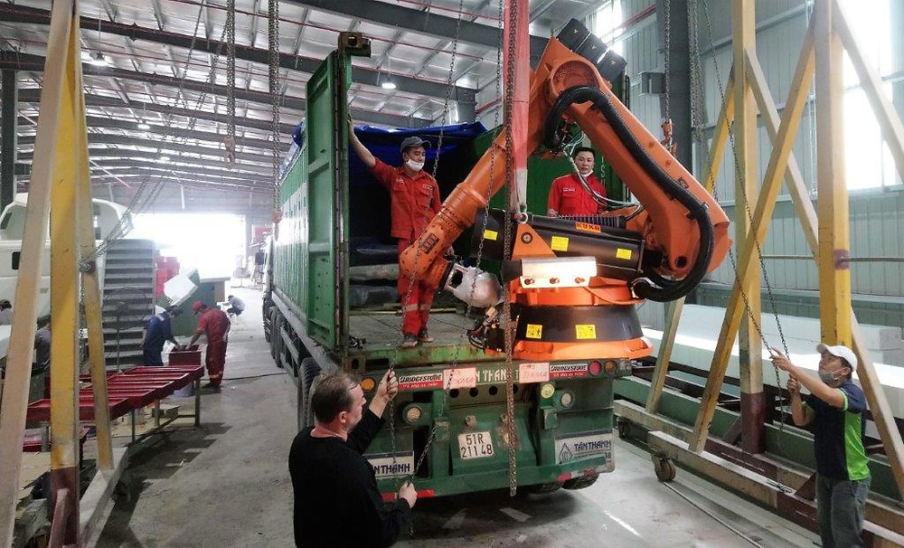 The KUKA Robot has arrived at Triac Composites' factory