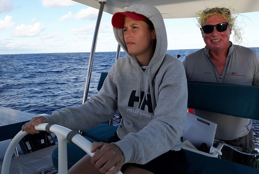Stephen Bourne sports a new hair style aboard Ineffable, mid Atlantic, December 2018.