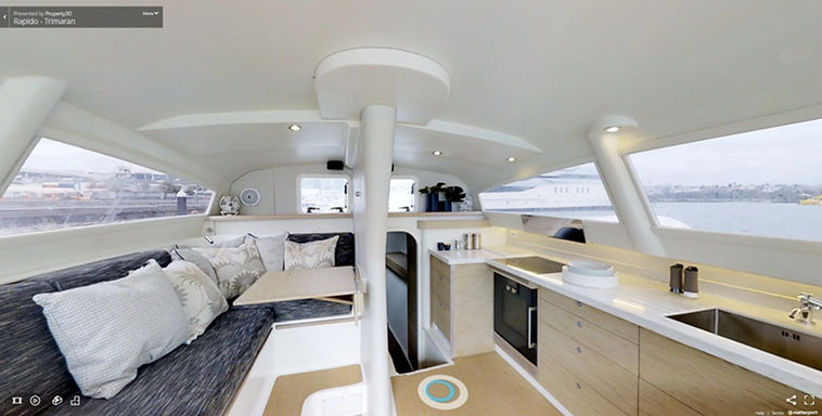 3D inteactive view of the interior of Rapido 60 Trimaran
