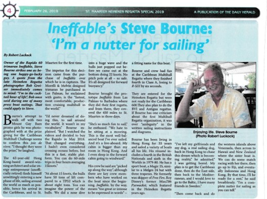 Article about Steve Bourne and Ineffable by Robert Luckock which was published in the Daily Herald.