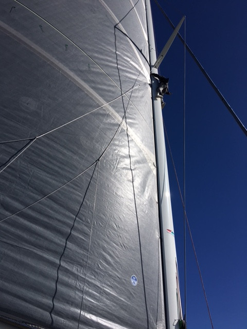 Sam does a mighty job up the mast on Romanza while crossing the Tasman Sea.
