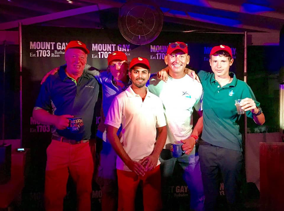 Ineffable's winning crew at Barbados 2019, led by Stephen Bourne.