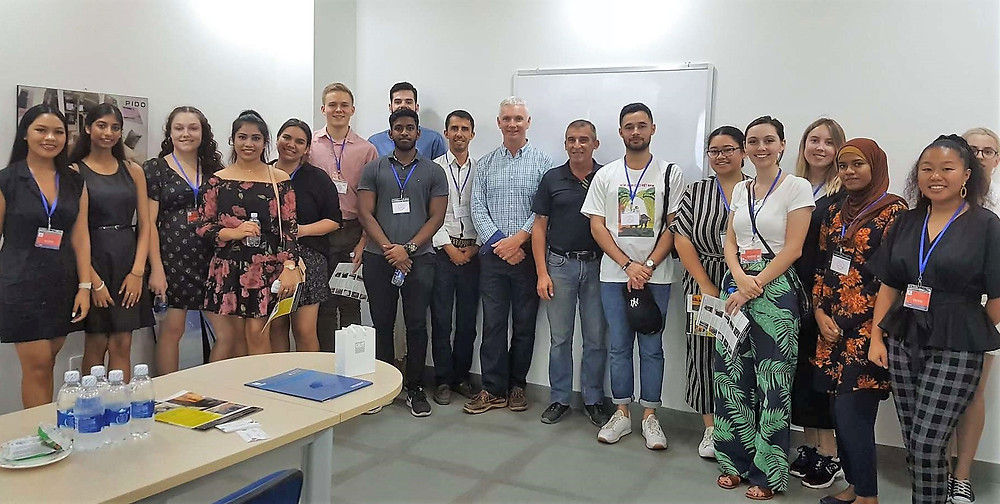 Triac Composites' Phil Johns (General Manager) and Tom Cutajar (Production Manager) in Triac's meeting room with the QUT student delegation led by Dr Rui Torres de Oliveira. Queensland University of Technology