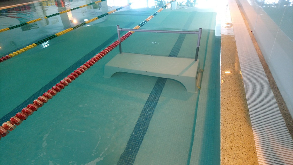 A Triac Composites' swimming platform in the pool.