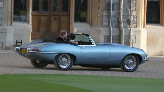 The royal wedding car driven away from Windsor was Jaguar Classic's electric 'E-type Zero&#3