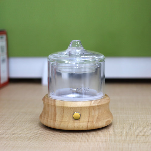 Crystal Glass Aromatherapy Diffuser with Real wood base & Rechargeable Battery