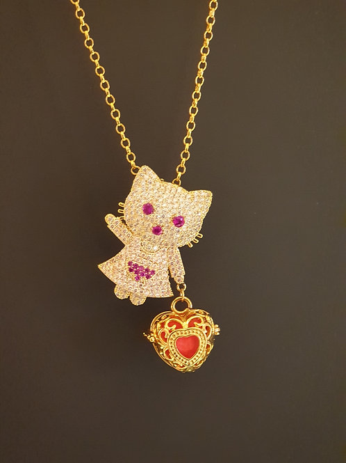 Essential oil Diffuser Locket Necklace Kitty (Gold)