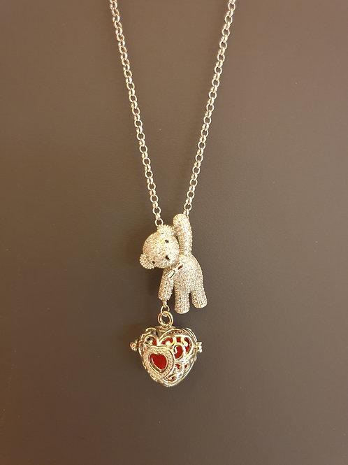 Essential oil Diffuser Locket Necklace Bear (Silver )