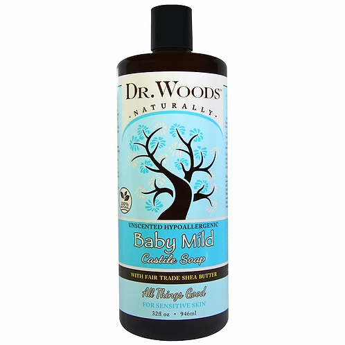 Dr. Woods, Baby Mild, Castile Soap with Fair Trade Shea Butter, Unscented 946 ml