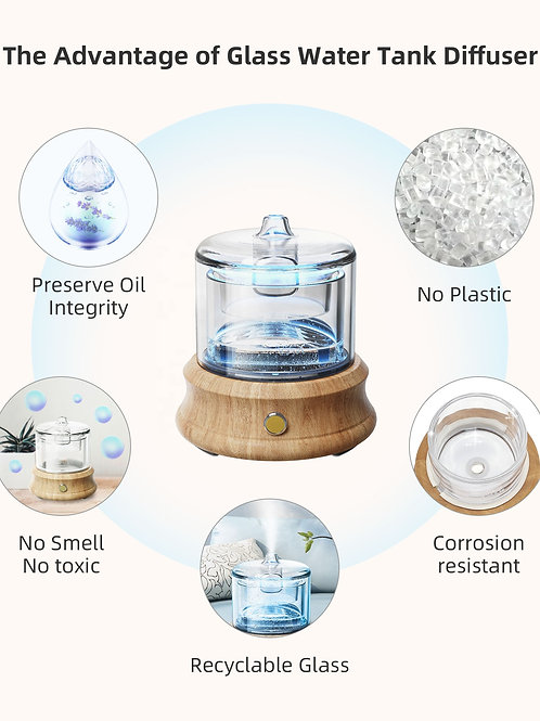 Crystal Glass Ultrasonic USB Aromatherapy Diffuser with Real wood base