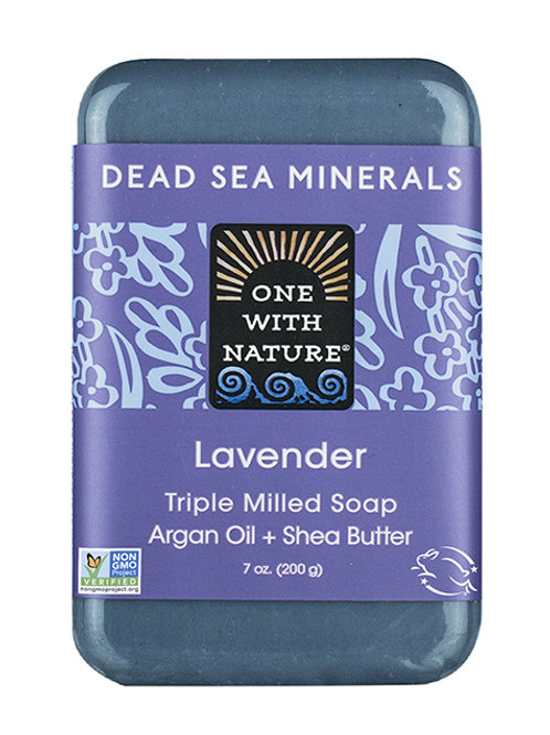 One with Nature, Triple Milled Mineral Soap Bar, Lavender (200 g)