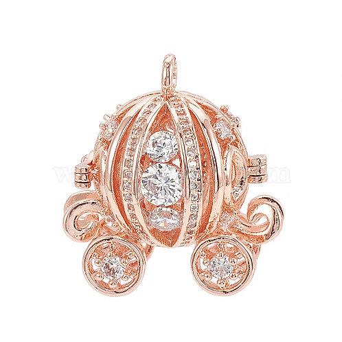 Essential oil Diffuser Locket Necklace Cinderella's Pumpkin Carriage Rose Gold