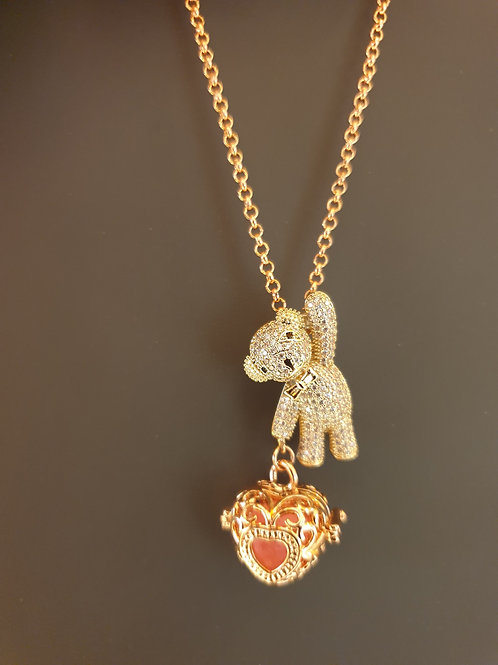 Essential oil Diffuser Locket Necklace Bear (Rose Gold)
