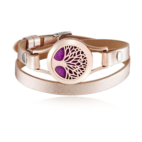 Rose Gold Essential Oil Diffuser Leather Bracelet - Tree of Life