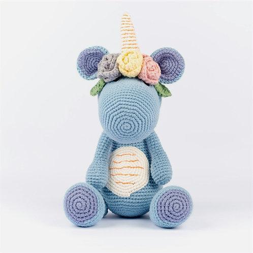 Handmade Crochet Blue Unicorn Dino