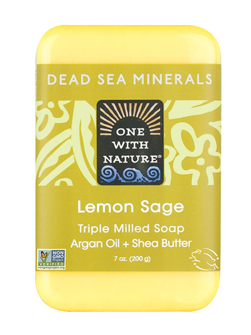 One with Nature, Triple Milled Mineral Soap Bar, Lemon Sage (200 g)