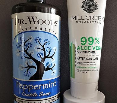 ECZEMA CARE PACKAGE : Healing Balm, Peppermint Castile Soap, Aloe Vera Gel