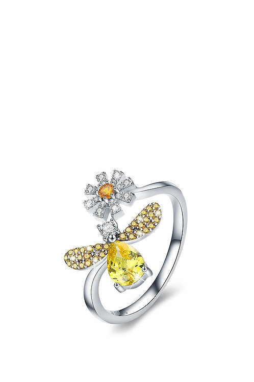 925 Sterling Silver Fashion Ring Bee with Daisy Flower