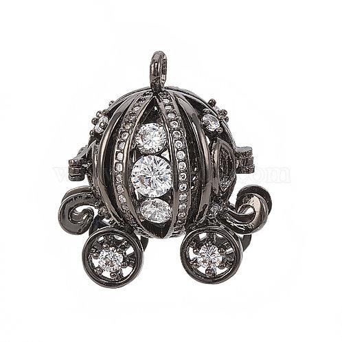Essential oil Diffuser Locket Necklace Cinderella's Pumpkin Carriage Gunmetal